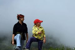 Mother and child on mountain Royalty Free Stock Photos