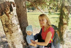 Mother and Child in Nature Stock Image