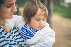 Mother with child on nature Stock Images