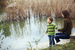 Mother with child outdoor Royalty Free Stock Images