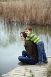 Mother with child outdoor Stock Image