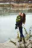 Mother with child outdoor Royalty Free Stock Image