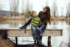 Mother with child outdoor Stock Images