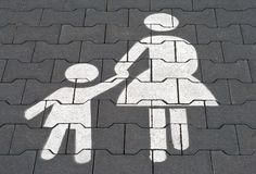 Mother with child parking lot Stock Photos