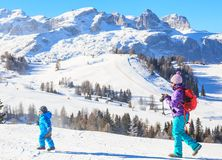 Mother child photographs on the slopes at the ski resort Stock Photos