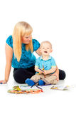 Mother and child play and draw Stock Photography