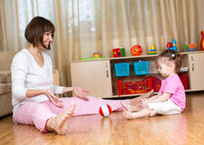 Mother and child play at home Royalty Free Stock Images
