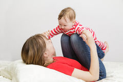 Mother and child playing at home Royalty Free Stock Images