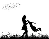 Mother and child playing. Silhouette of mother and child playing in nature Royalty Free Stock Photo