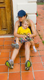 A mother and child preparing for a hike Stock Photography