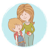 Mother and child pupil isolated characters Royalty Free Stock Photo