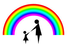 Mother and child with rainbow Stock Images