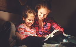 Mother and child reading book in bed before going to sleep Royalty Free Stock Photography