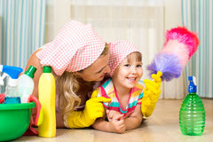 Mother and child ready to room cleaning Royalty Free Stock Image