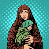 Mother and child refugees foreigners immigrants. Pop art retro style. Humanitarian and social issues. War and poverty stock illustration