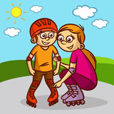 Mother and child on roller skates. Vector illustration Stock Photos