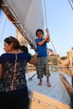 Mother with Child on Sailboat in the Nile river Royalty Free Stock Photography