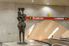 Mother and Child sculpture Kossuth metro royalty free stock photography