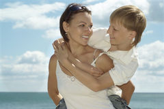 Mother and child and sea Stock Photography