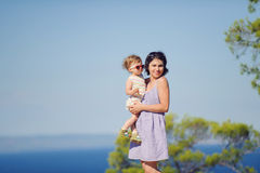 Mother and Child at Seaside Stock Image