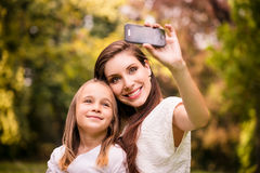 Mother with child selfie Royalty Free Stock Photos
