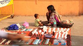Mother and child at shop stock video footage