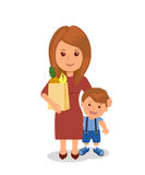 Mother and child shopping. Concept infographics proper nutrition Royalty Free Stock Photos