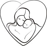 Mother and child sketch. In a  heart frame Stock Images