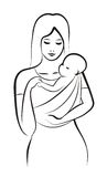 Mother and child in sling. Sketch in black lines Stock Image