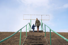 Mother and child on a staircase Stock Photography