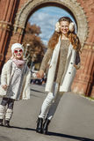Mother and child standing near Arc de Triomf in Barcelona Stock Photo