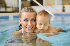 Mother and Child  Swimming Stock Image