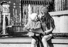 Mother and child tourists near Sforza Castle having excursion Royalty Free Stock Images