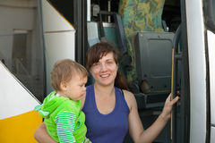 Mother and child traveling on  bus Stock Photography