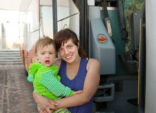 Mother and child traveling on  bus Royalty Free Stock Photo
