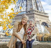 Mother and child travellers having fun time in Paris, France Stock Photos