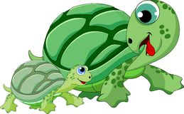Mother and child turtle cartoon. Mother and child turtle is cute Royalty Free Stock Photography