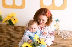Mother and child in Ukrainian costumes Stock Images