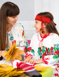 Mother and child in Ukrainian national cloth Stock Photography