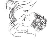 Mother child. Vector Mother and child drawn in adobe illustrator Royalty Free Stock Photography