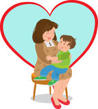Mother and Child. Vector illustration of a boy sitting on his mothers lap and a big heart shape in the background. Eps10 Stock Photo