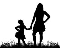 Mother and child. Vector, isolated, silhouette of mother and child playing in nature Royalty Free Stock Images