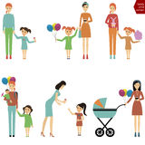 Mother with a child for a walk / Mom with a child eating cotton Royalty Free Stock Photography
