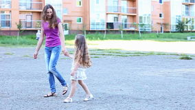 Mother with child walk stock video footage