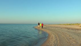 Mother and Child walking along the seashore at dawn stock footage