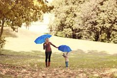 Mother and child walking with umbrellas in an autumn park royalty free stock photography