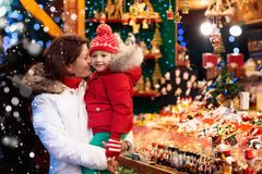 Family shopping Christmas presents Royalty Free Stock Image