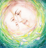Mother and child. Watercolors painting of young mother and her child.Picture I have created from imagination Royalty Free Stock Image