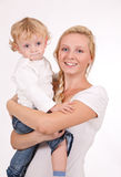 Mother and child on white Royalty Free Stock Photo