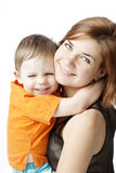 Mother with a child on a white background Stock Photo